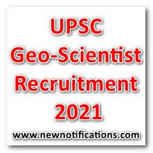 UPSC Geo-Scientist Recruitment 2021
