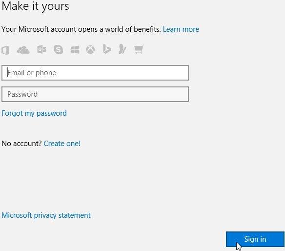 Windows 10, Paramètres, Comptes, Faites-en votre. Entrez votre adresse e-mail et votre mot de passe de compte Microsoft existants. Ensuite, cliquez sur 'S'enregistrer'.
