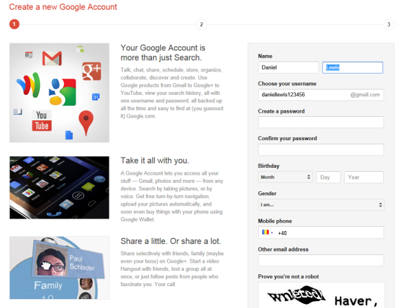 Google Account Creation includes Gmail and Google+ google account form