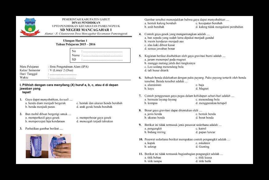 Soal Soal Ulangan Harian Ipa Ktsp Kelas 5 Semester 2 Lestari Pendidikan