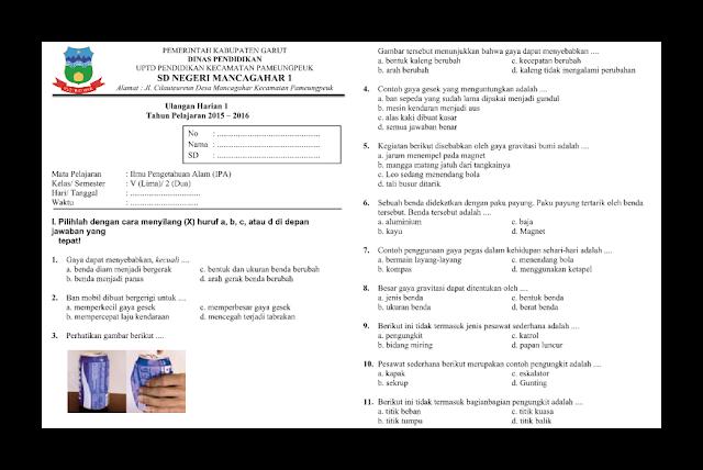 Soal UH (Ulangan Harian) IPA Kelas 5 semester 2