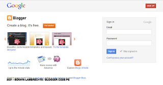 Page de connexion Blogger en 2011