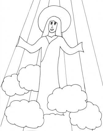 mary visits elizabeth coloring page - catholic kids july 2012