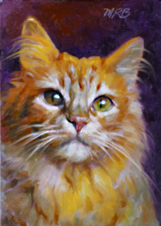 Art by Mary Rochelle Burnham: Orange Main Coon Cat