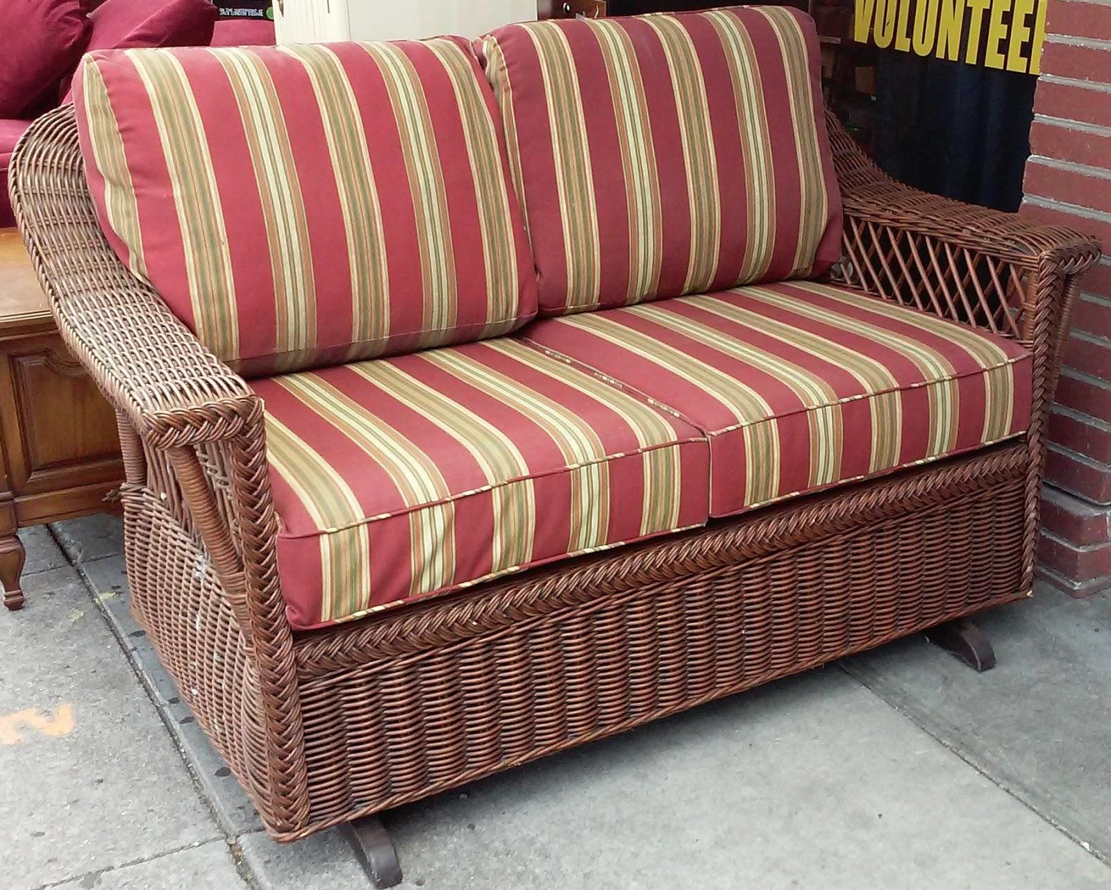 Uhuru Furniture Collectibles Sold Wicker Loveseat Rocker 190