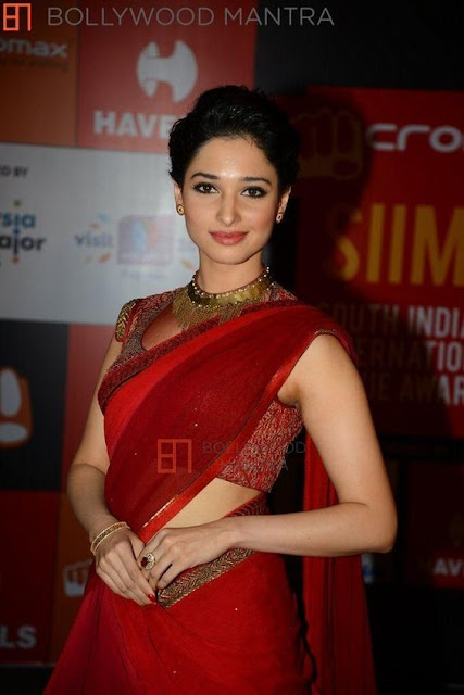 Tamanna Very Hot in Red Saree Photo Collection Navel Queens
