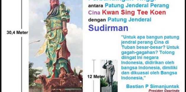 Patung jendral perang China di Tuban, FAUIB: Tidak ada kata lain kecuali dibongkar dan dirobohkan
