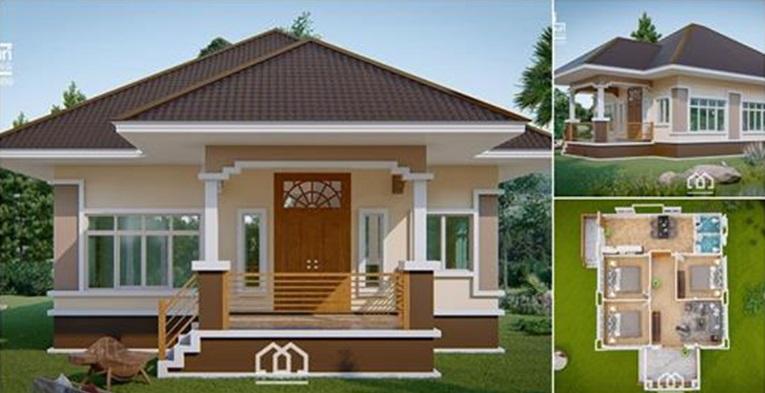 Plano de una casa contemporánea 3 dormitorios y 1 baño