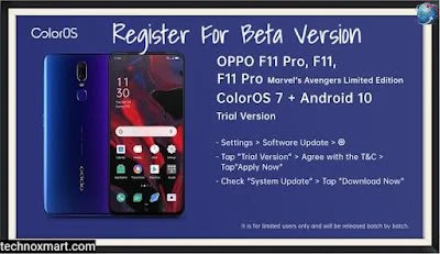 Oppo Registration: Oppo F11, Oppo F11 Pro Beta Version Based On Android 10 With ColorOS 7