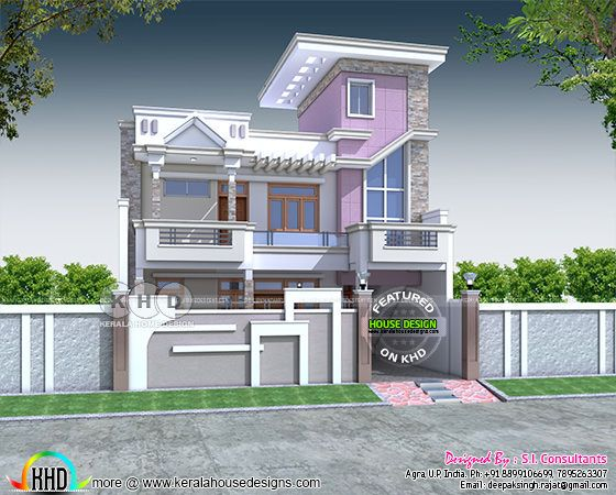 3100 square feet modern 5 bedroom Indian style home design