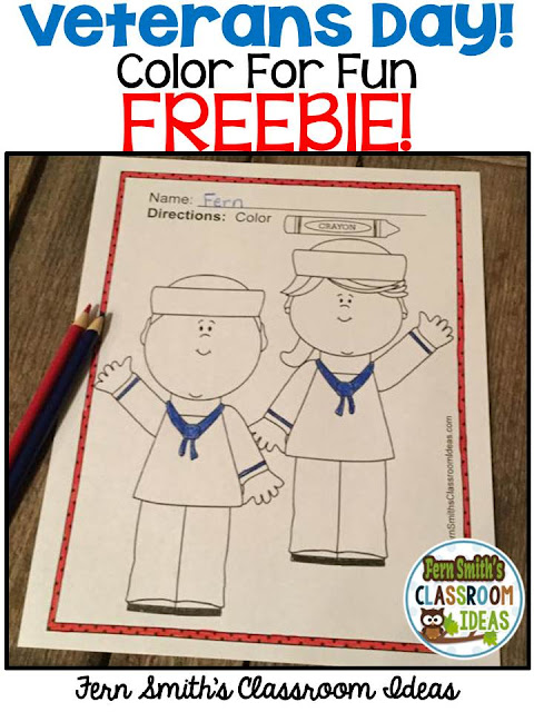 Your Students will ADORE these Coloring Book Pages for Veterans Day and you will adore that it is one of my FREEBIES!! Add this to your plans to compliment any Veterans Day Unit! FREE Coloring Pages For Some Veterans Day Fun! Perfect for bulletin boards, indoor recess, morning work, emergency sub tubs, rewards, party treats, fine motor skills, creative writing centers, story starters and more! #FernSmithClassroomIdeas