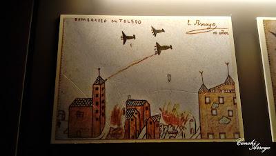 Dibujo de uno de los niños de la guerra, exposición de dibujos de niños de diferentes lugares de España, que vivieron la guerra
