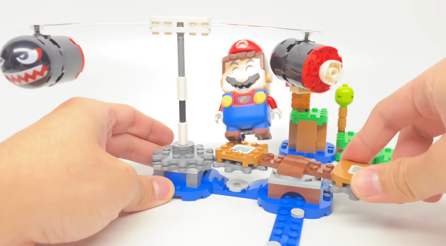 Boomer Bill Barrage LEGO Super Mario expansion set in action assembled play knock Mario off platform pole