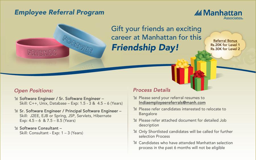 Software Jobs Employee Referral Program - Gift your friend an