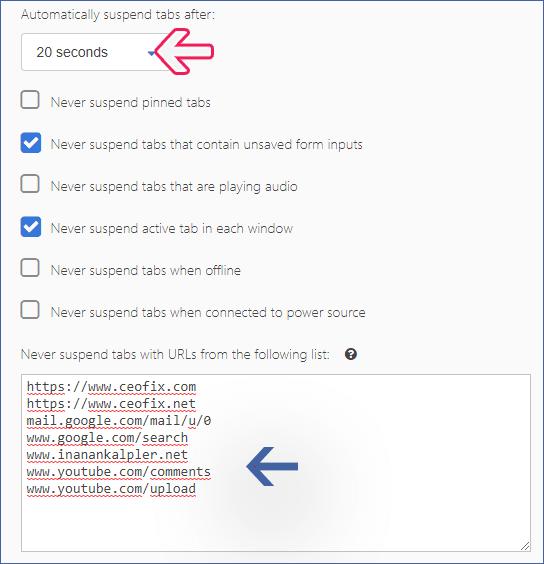 Chrome'da kullanılmayan sekmeleri dondur.- www.ceofix.com