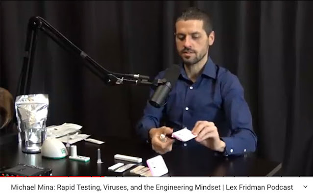 Michael Mina opens one of the low cost home test kits (Source: Lex Fridman, Dec 18, 2020  podcast)