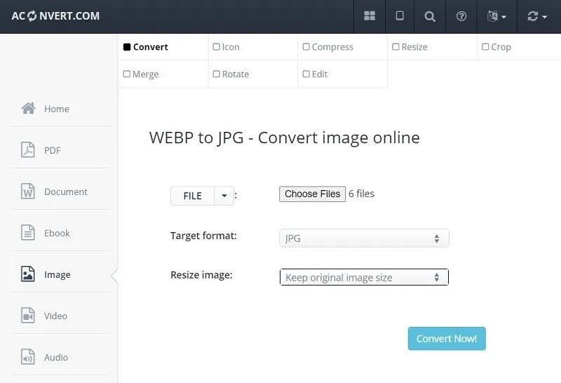 Aconvert تحويل Webp إلى Jpg