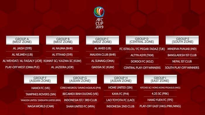 Piala AFC 2019: Wakil Indonesia Tergabung di Grup G dan H