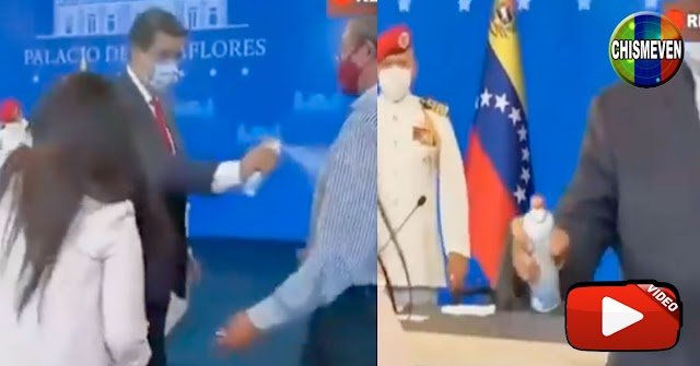 Nicolás Maduro rocía con desinfectantes a todo aquél que se le acerca