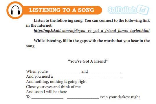 Chapter 15 Halaman 196-197 Listening to a Song: Melengkapi Lirik Lagu