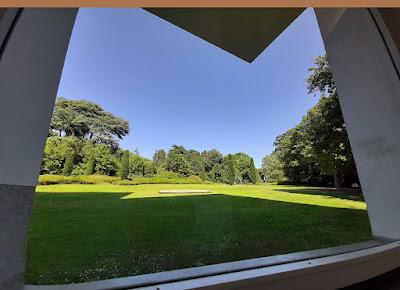 janela de vidro com jardim de paisagem