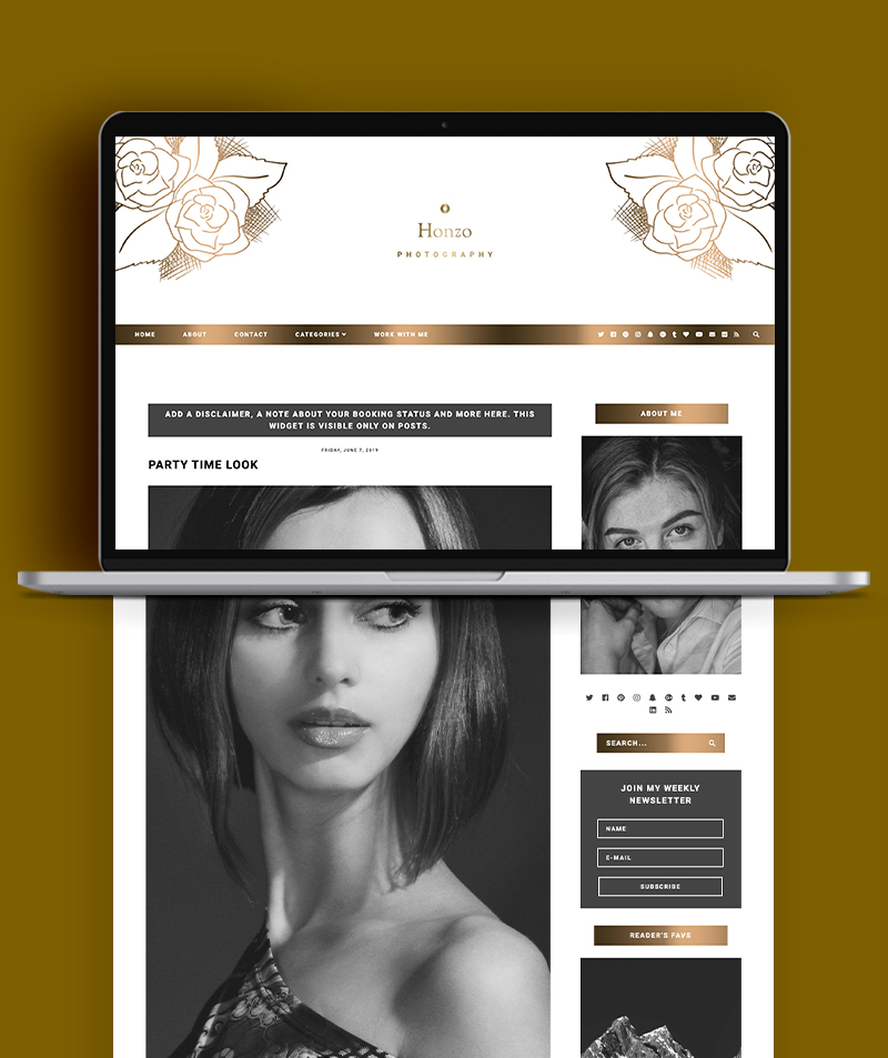 post page view of blogger template - honzo photography