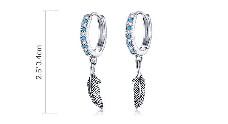 自然系羽毛 925純銀藍鋯石耳環
