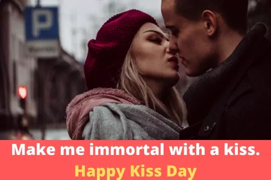 Kiss is garnished on dish of love with love…Happy Kiss Day
