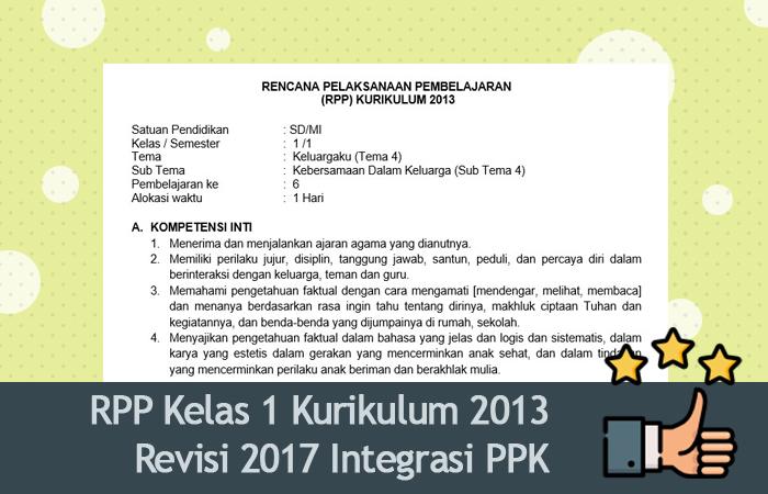 RPP Kelas 1 Kurikulum 2013 Revisi 2017 Integrasi PPK