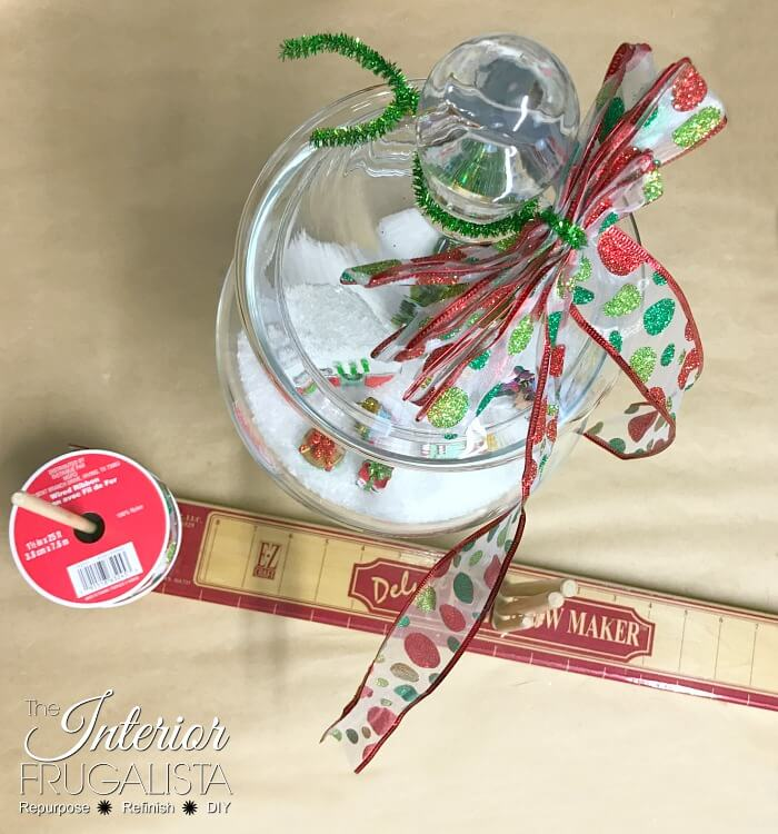 Retro North Pole Christmas In A Jar Bow Ribbon
