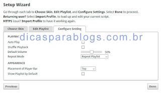configurações do player de musica
