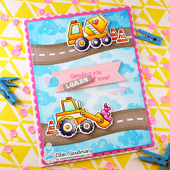 Construction Truck Valentine Card by Ellen Haxelmans | Love Quarry Stamp Set and Frames & Flags Die Set by Newton's Nook Designs #newtonsnook #handmade