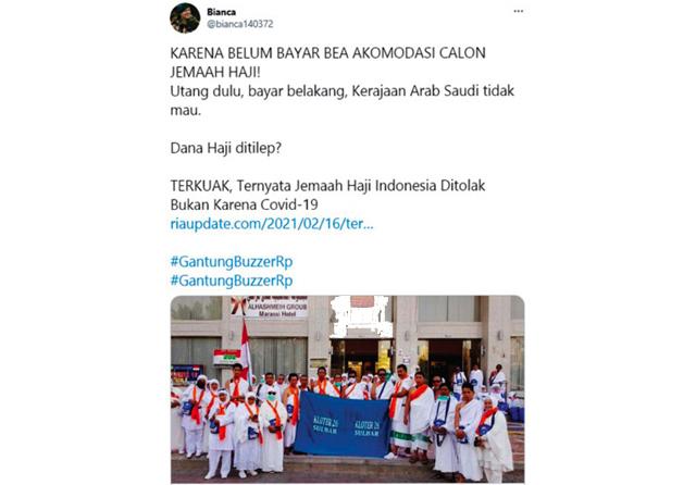 Hoax Jamaah Haji Indonesia Ditolak karena Utang Dana Akomodasi