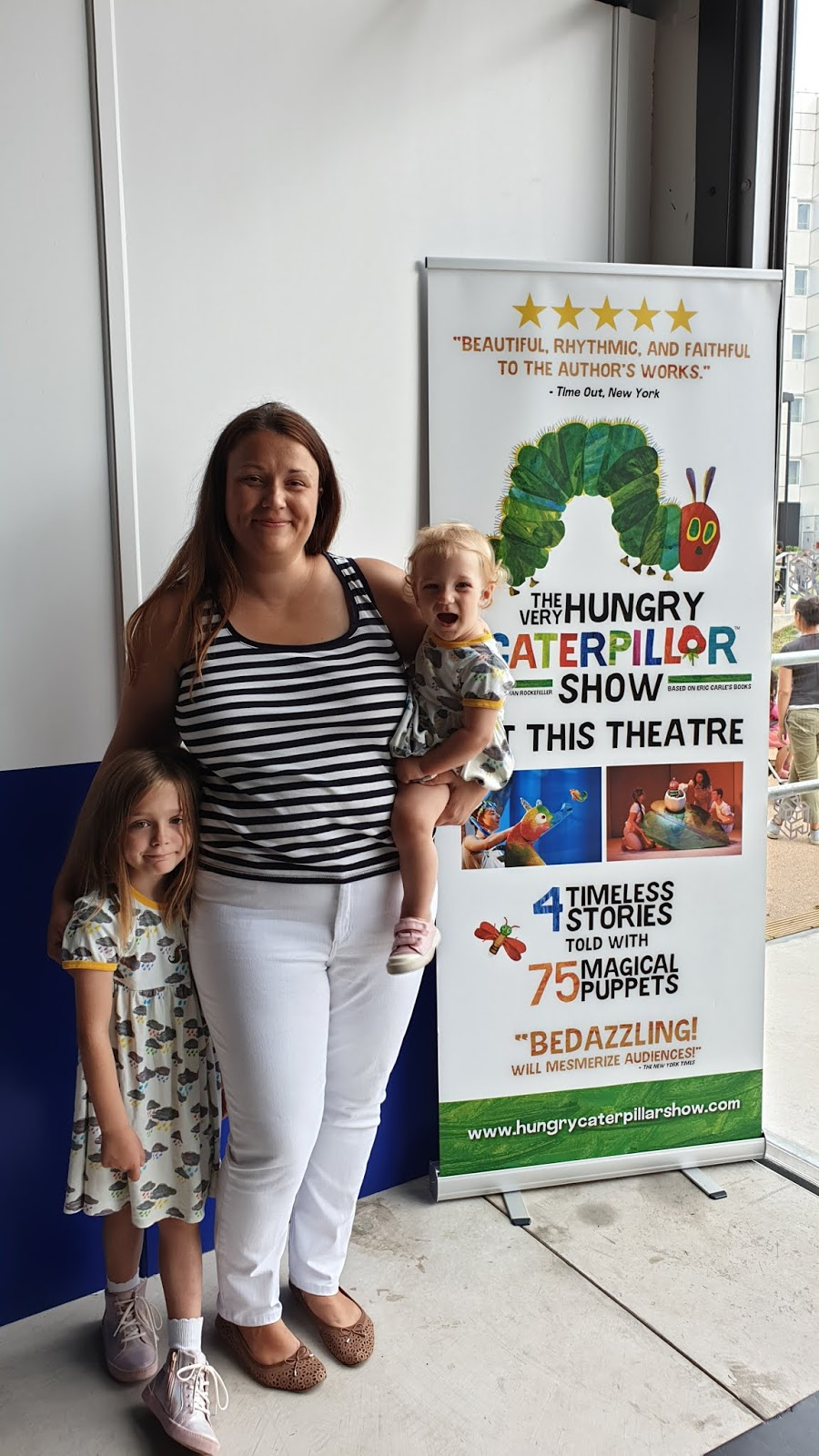 mum and daughters at the very hungry caterpillar show