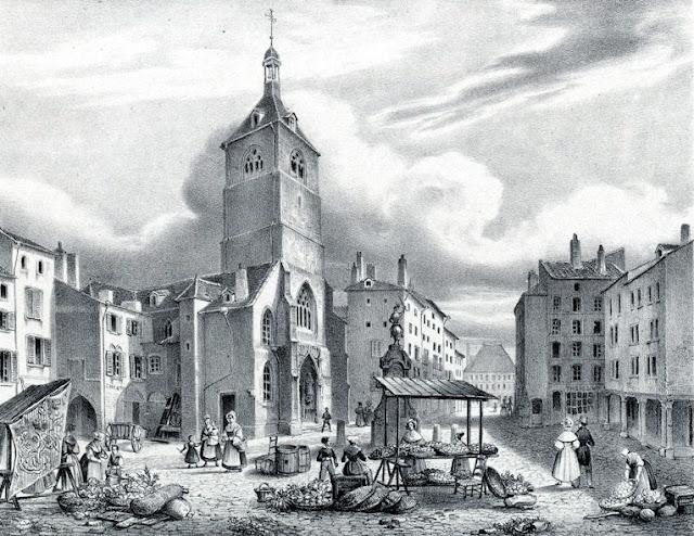 Vue de l'église et place Saint-Epvre et la statue équestre de René II de Lépy en 1850