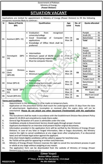 Ministry-energy-division-jobs-2020-application-from