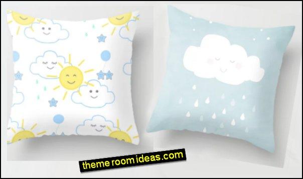 Little Rain Cloud Nursery Art Throw Pillow Sun Rain Cloud Nursery Throw Pillow