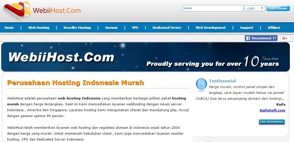 Review webiihost.com, Web Hosting Berfitur Lengkap