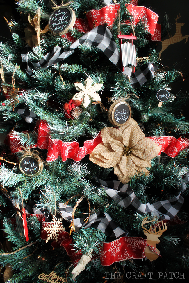 Buffalo Check Christmas Tree Decor.Rustic Red Black Burlap And Buffalo Check Christmas Tree