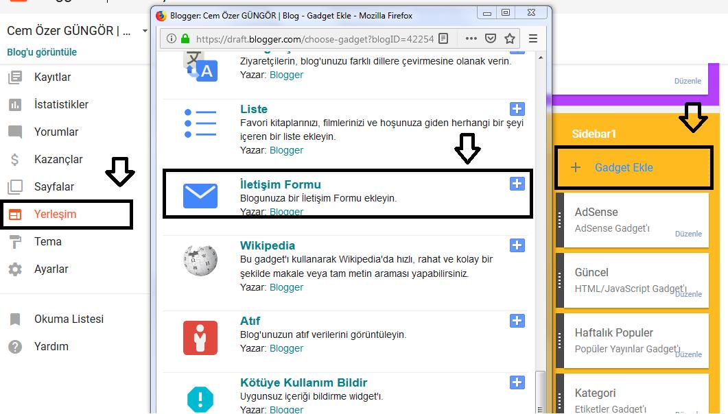 blogger iletişim formu ekleme