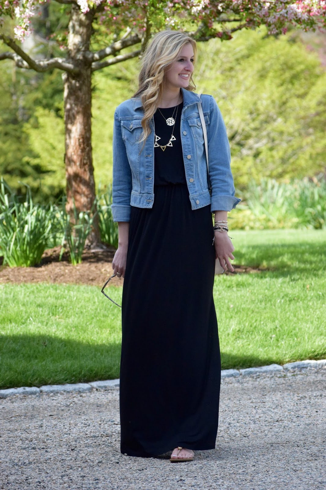 maxi dress amp a denim jacket roses and rain boots