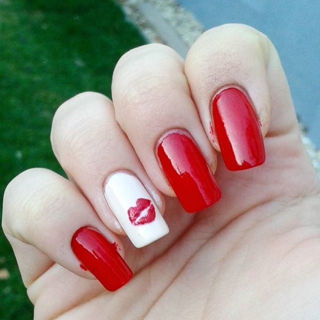 Valentine's day Crazy Hot Kiss Funny Nail Art Design