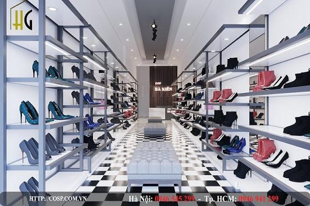 thiết kế cửa hàng giày dép ha kien sang trong