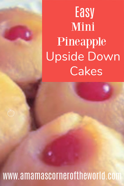 Pinnable image for mini pineapple upside down cakes