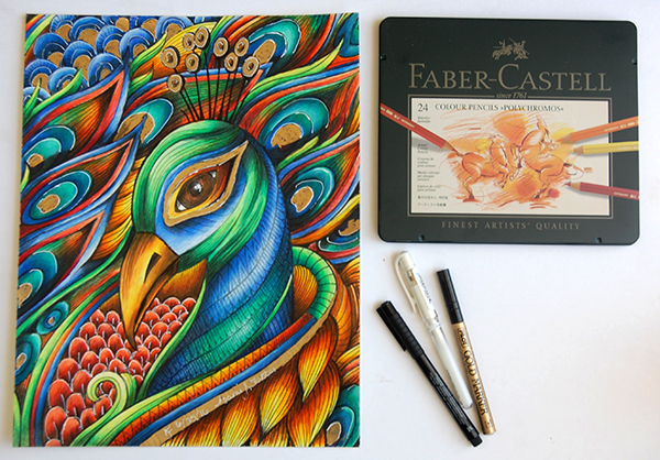 Faber Castell Polychromos colored pencils, peacock adult coloring page with gold marker, pitt marker and signo white pen