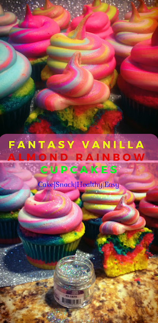 Fantasy Vanilla Almond Rainbow Cupcakes