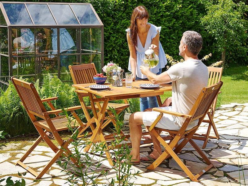 Conjunto de jardín de mesa y silla plegable de madera de acacia
