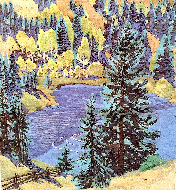 Gustave Baumann art, looking down on a lake with pine trees