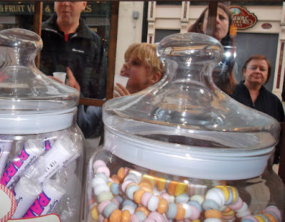 Customers of different ageas being tempted by what's on offer at Sankey's Sweet Shop in Brigg - see Nigel Fisher's Brigg Blog