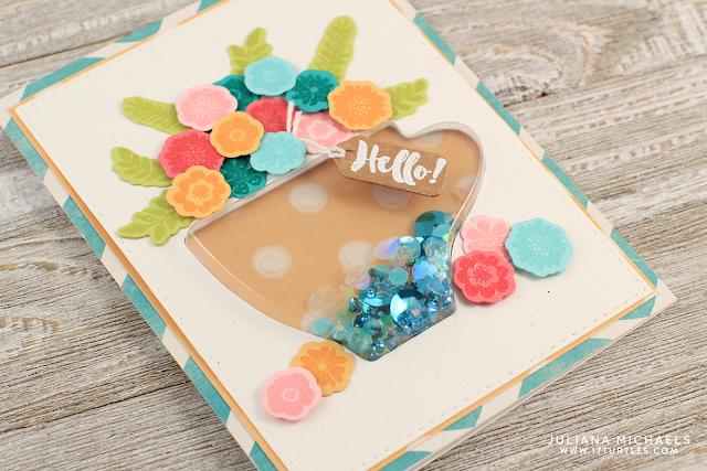 Hello Coffee Shaker Card by Juliana Michaels featuring Jillibean Soup Latte Coffee Cup Shake Card and Stamp Set